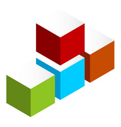 Stacked 3d cubes colorful icon on white isometric vector