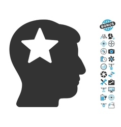 Star Head Icon With Air Drone Tools Bonus vector image