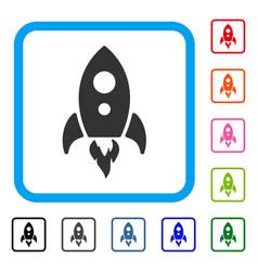 startup rocket framed icon vector image
