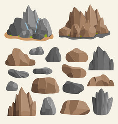 Stones rocks in cartoon style big building mineral vector