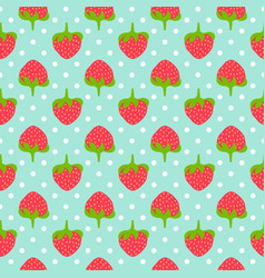 strawberry seamless pattern whit polka dots vector image