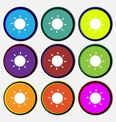 Sun icon sign Nine multi-colored round buttons vector