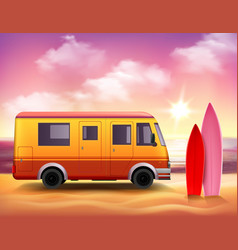 Surfing van 3d colorful background poster vector