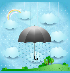 Surreal landscape with umbrella and rain vector