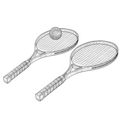 tennis rackets hand drawn sketch vector image
