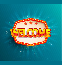 the welcome retro banner with glowing lamps vector image