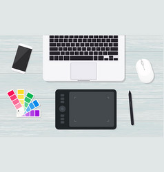 top view designer workplace with graphic tablet vector image