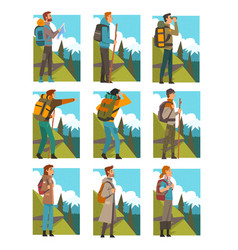 tourists hiking in mountains with backpacks set vector image