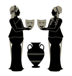 Two girls dressed in ancient greek style holding vector