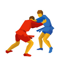 two sambo fighters in blue and red martial arts vector image