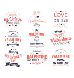 valentines day cards collection typography vector image