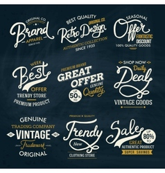Various Fashion Labels on Dark Green Background vector