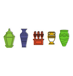 vase icon set color outline style vector image