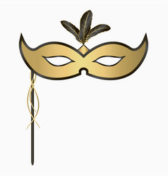venetian carnival face mask with feathers handle vector image