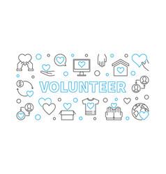 Volunteer outline horizontal vector
