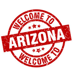 Welcome to arizona red stamp vector