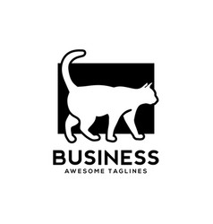 White cat with black background logo vector