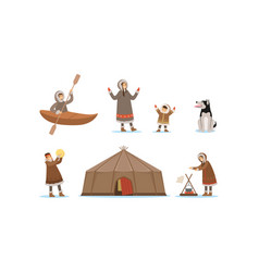 Wild north arctic people and animals vector