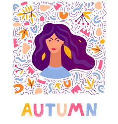 woman autumn hand drawn leaves vector image