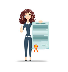 Woman with a certificate vector