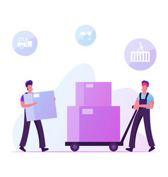 Worker in uniform driving hand truck with stack vector