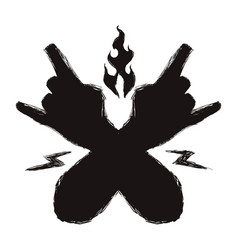 black hands with rock symbol and sign around vector image vector image