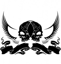 wing skull heraldry vector image vector image