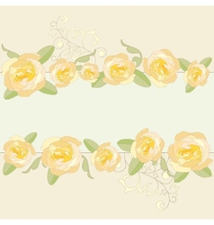 Yellow roses ornate frame background vector image vector image