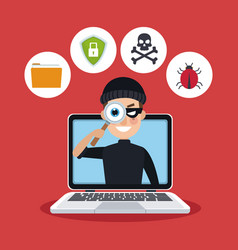 red color background laptop with espionage with vector image vector image