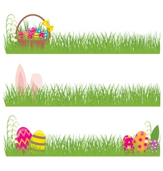 Set of Easter banners grass and Easter eggs vector image