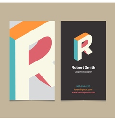 business card letter R vector image vector image