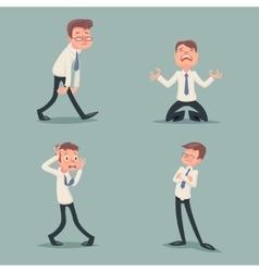 Businessman Suffer Emotion Fear Horror Depression vector image