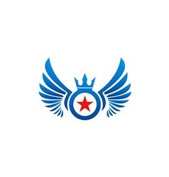 fly wing emblem star logo vector image vector image