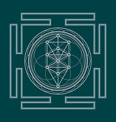Monochrome outline tree of life yantra vector