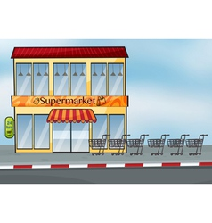 A supermarket near the street vector image vector image