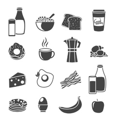 Breakfast Flat Sillhouette Icon Set vector image