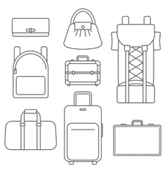 Different types of bags suitcase backpack and vector image vector image