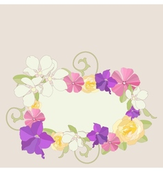 Garden flowers ornate frame background vector image vector image
