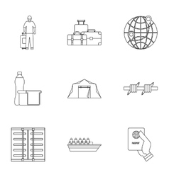 People refugees icons set outline style vector image