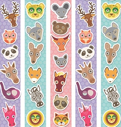 Set of funny animals muzzle seamless pattern with vector image vector image
