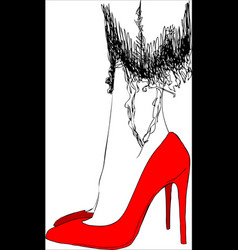 young woman on red shoes one line design vector image vector image