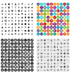 100 family camping icons set variant vector