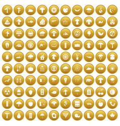 100 mushrooms icons set gold vector