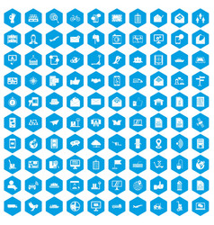 100 post and mail icons set blue vector