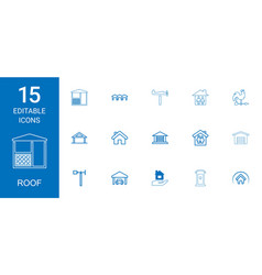 15 roof icons vector