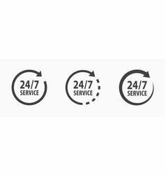 24-7 service icon on white vector