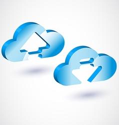 3d cloud upload vector image