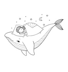A little girl is sleeping on whale cozy bed vector