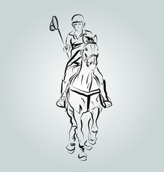 A polo cross player vector
