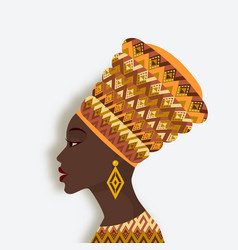 african woman in turban and earrings in profile vector image